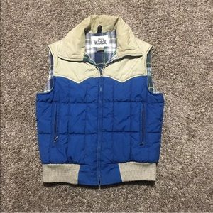 Quilted Puffer Bubble Vest Plaid Lined Full Zip